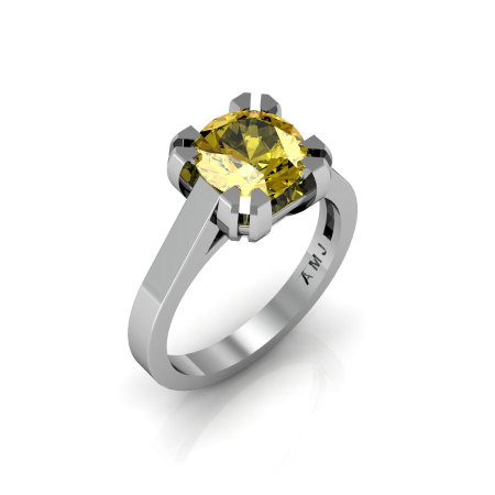 Modern 14K White Gold Gorgeous Solitaire Bridal Ring with a 2.0 Carat Yellow Sapphire Center Stone R66N-14KWGYS-1