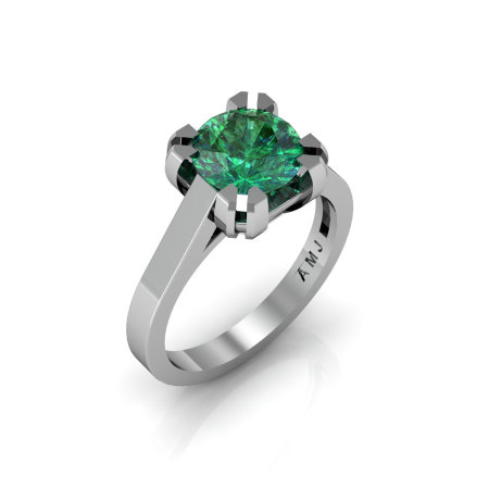 Modern 14K White Gold Gorgeous Solitaire Bridal Ring with a 2.0 Carat Emerald Center Stone R66N-14KWGEM-1