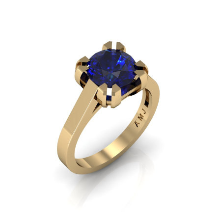 Modern 14K Yellow Gold Gorgeous Solitaire Bridal Ring with a 2.0 Carat Blue Sapphire Center Stone R66N-14KYGBS-1
