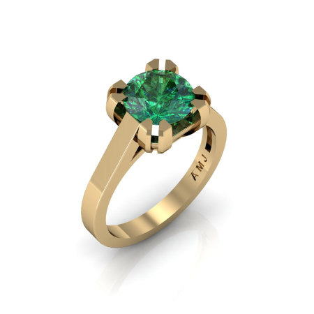 Modern 14K Yellow Gold Gorgeous Solitaire Bridal Ring with a 2.0 Carat Emerald Center Stone R66N-14KYGEM-1