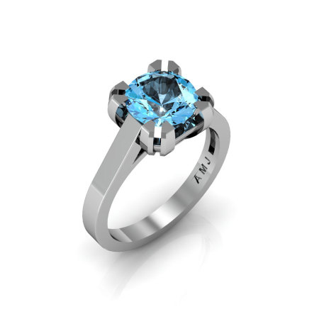Modern 14K White Gold Gorgeous Solitaire Bridal Ring with a 2.0 Carat Aquamarine Center Stone R66N-14KWGAQ-1