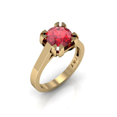Modern 14K Yellow Gold Gorgeous Solitaire Bridal Ring with a 2.0 Carat Ruby Center Stone R66N-14KYGR-1