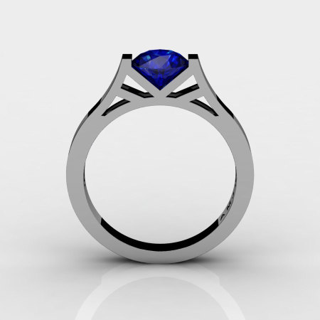 Modern 14K White Gold Elegant and Luxurious Engagement Ring or Wedding Ring with a Blue Sapphire Center Stone R667-14KWGBS-1