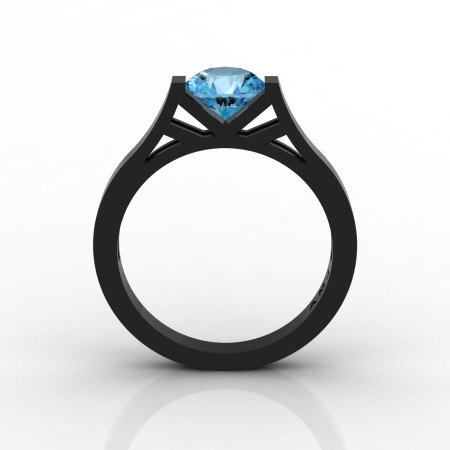 Modern 14K Black Gold Elegant and Luxurious Engagement Ring or Wedding Ring with a Blue Topaz Center Stone R667-14KBGBT-1
