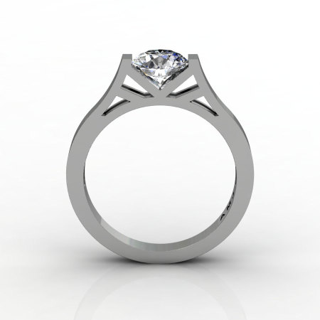 Modern 14K White Gold Elegant and Luxurious Engagement Ring or Wedding Ring with a White Sapphire Center Stone R667-14KWGWS-1