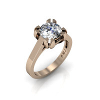 Modern 14K Rose Gold Gorgeous Solitaire Bridal Ring with a 2.0 Carat White Sapphire Center Stone R66N-14KRGWS-1