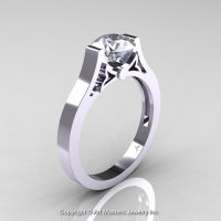 Modern 14K White Gold Luxurious and Simple Engagement Ring or Wedding Ring with a 1.0 Ct White Sapphire Center Stone R668-14KWGWS-1
