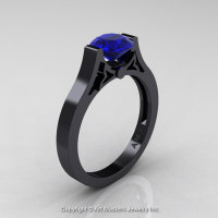 Modern 14K Black Gold Luxurious and Simple Engagement Ring or Wedding Ring with a 1.0 Ct Blue Sapphire Center Stone R668-14KBGBS-1