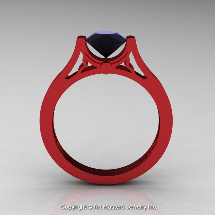 Luxury Red and Black Engagement Rings