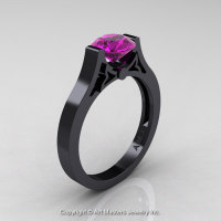 Modern 14K Black Gold Luxurious and Simple Engagement Ring or Wedding Ring with a 1.0 Ct Amethyst Center Stone R668-14KBGAM-1
