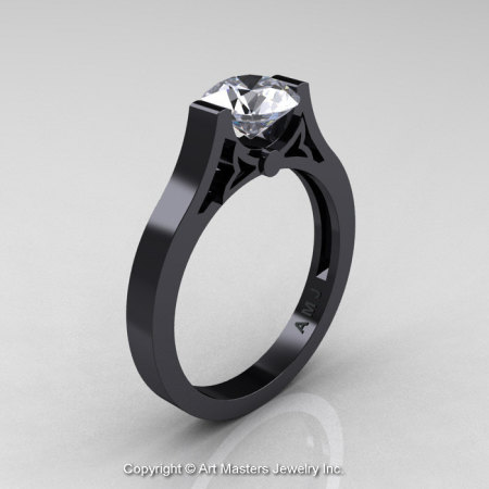 Modern 14K Black Gold Luxurious and Simple Engagement Ring or Wedding Ring with a 1.0 Ct White Sapphire Center Stone R668-14KBGWS-1