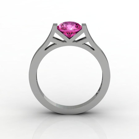Modern 14K White Gold Elegant and Luxurious Engagement Ring or Wedding Ring with a Pink Sapphire Center Stone R667-14KWGPS-1