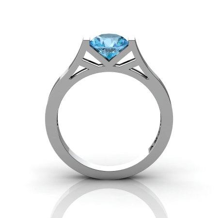 Modern 14K White Gold Elegant and Luxurious Engagement Ring or Wedding Ring with a Aquamarine Center Stone R667-14KWGAQ-1
