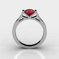 Modern 14K White Gold Elegant and Luxurious Engagement Ring or Wedding Ring with a Ruby Center Stone R667-14KWGR-1