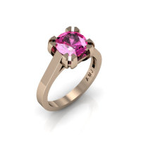 Modern 14K Rose Gold Gorgeous Solitaire Bridal Ring with a 2.0 Carat Pink Sapphire Center Stone R66N-14KRGPS-1