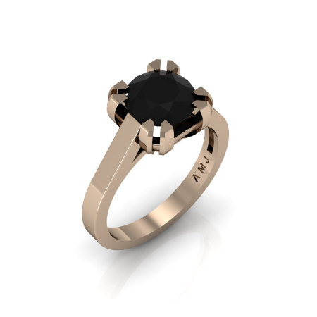 Modern 14K Rose Gold Gorgeous Solitaire Bridal Ring with a 2.0 Carat Black Diamond Center Stone R66N-14KRGBD-1