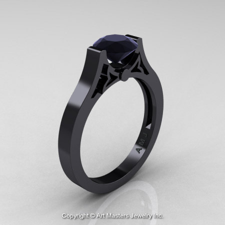 Modern 14K Black Gold Luxurious and Simple Engagement Ring or Wedding Ring with a 1.0 Ct Black Diamond Center Stone R668-14KBGBD-1