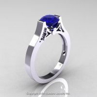 Modern 14K White Gold Luxurious and Simple Engagement Ring or Wedding Ring with a 1.0 Ct Blue Sapphire Center Stone R668-14KWGBS-1