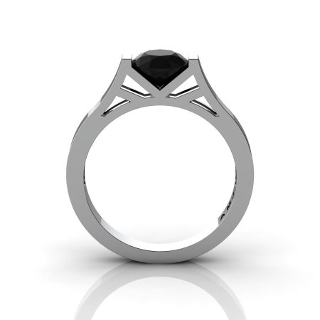 Modern 14K White Gold Elegant and Luxurious Engagement Ring or Wedding Ring with a Black Diamond Center Stone R667-14KWGBD-1