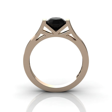 Modern 14K Rose Gold Elegant and Luxurious Engagement Ring or Wedding Ring with a Black Diamond Center Stone R667-14KRGBD-1