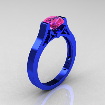 Modern 14K Blue Gold Luxurious and Simple Engagement Ring or Wedding Ring with a 1.0 Ct Pink Sapphire Center Stone R668-14KBLGPS-1