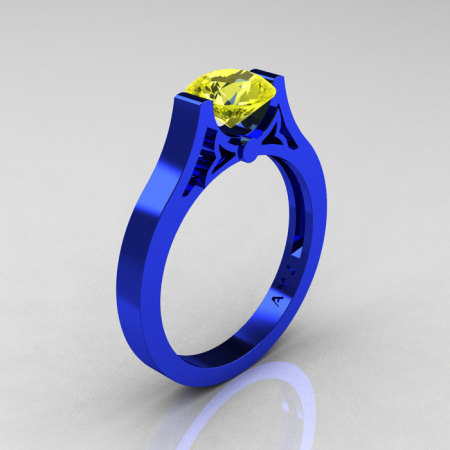 Modern 14K Blue Gold Luxurious and Simple Engagement Ring or Wedding Ring with a 1.0 Ct Yellow Sapphire Center Stone R668-14KBLGYS-1