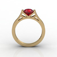 Modern 14K Yellow Gold Elegant and Luxurious Engagement Ring or Wedding Ring with a Ruby Center Stone R667-14KYGR-1