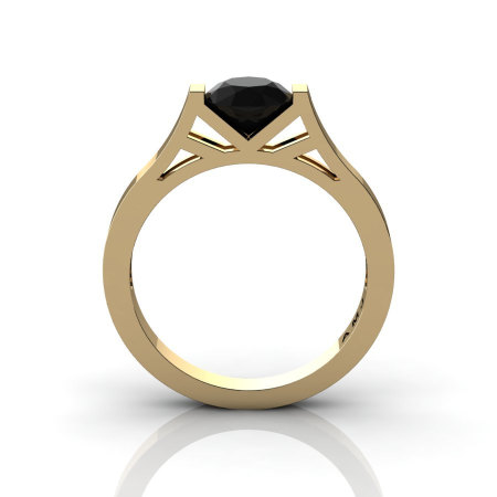 Modern 14K Yellow Gold Elegant and Luxurious Engagement Ring or Wedding Ring with a Black Diamond Center Stone R667-14KYGBD-1