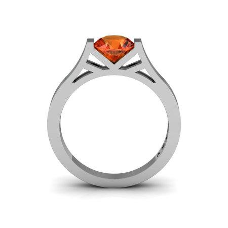 Modern 14K White Gold Elegant and Luxurious Engagement Ring or Wedding Ring with an Orange Garnet Center Stone R667-14KWGOG-1