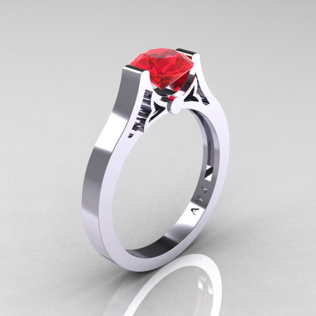 Modern 14K White Gold Luxurious and Simple Engagement Ring or Wedding Ring with a 1.0 Ct Ruby Center Stone R668-14KWGR-1