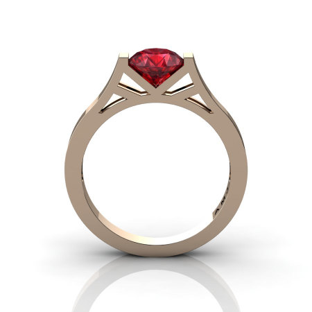 Modern 14K Rose Gold Elegant and Luxurious Engagement Ring or Wedding Ring with a Ruby Center Stone R667-14KRGR-1