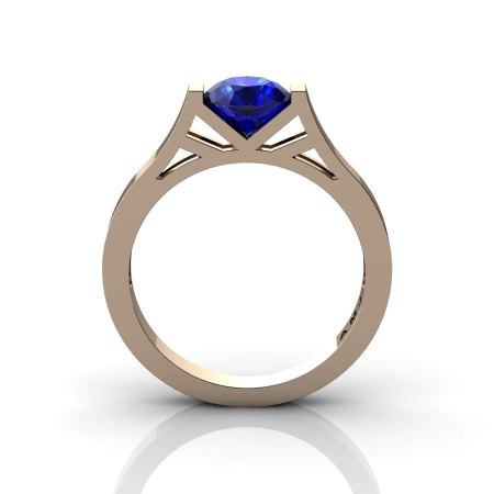 Modern 14K Rose Gold Elegant and Luxurious Engagement Ring or Wedding Ring with a Blue Sapphire Center Stone R667-14KRGBS-1