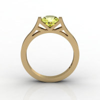 Modern 14K Yellow Gold Elegant and Luxurious Engagement Ring or Wedding Ring with a Yellow Topaz Center Stone R667-14KYGYT-1