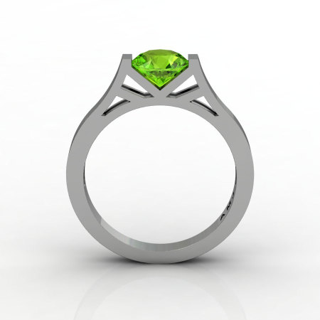 Modern 14K White Gold Elegant and Luxurious Engagement Ring or Wedding Ring with a Peridot Center Stone R667-14KWGPE-1