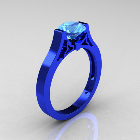 Modern 14K Blue Gold Luxurious and Simple Engagement Ring or Wedding Ring with a 1.0 Ct Blue Topaz Center Stone R668-14KBLGBT-1