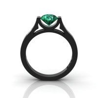 14K Black Gold Elegant and Modern Wedding or Engagement Ring for Women with an Emerald Center Stone R665-14KBGEM-1