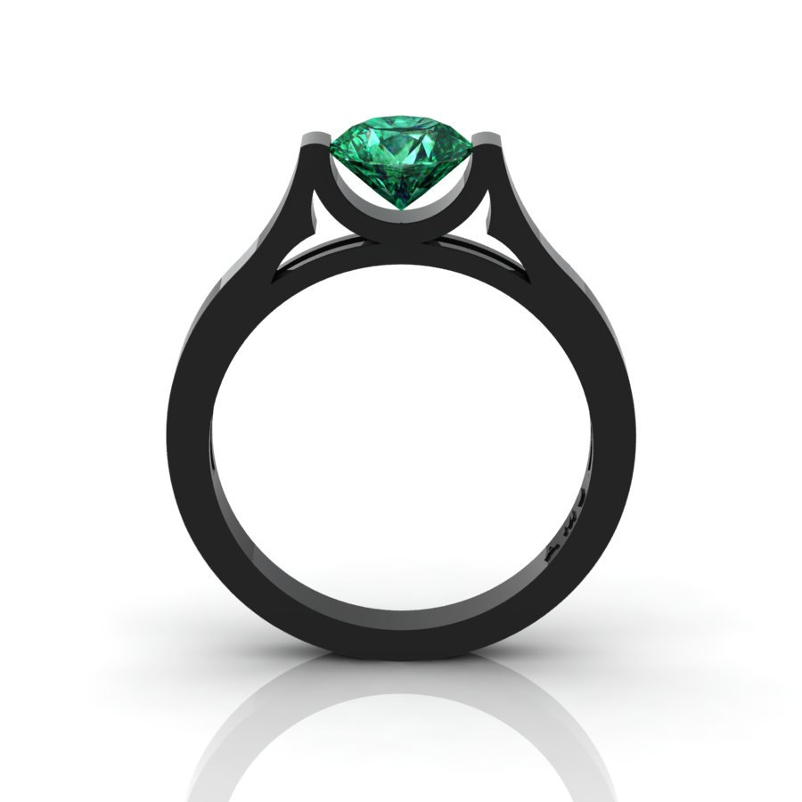 14K Black Gold Elegant and Modern Wedding or Engagement Ring for Women with  an Emerald Center Stone R665-14KBGEM   Art Masters Jewelry