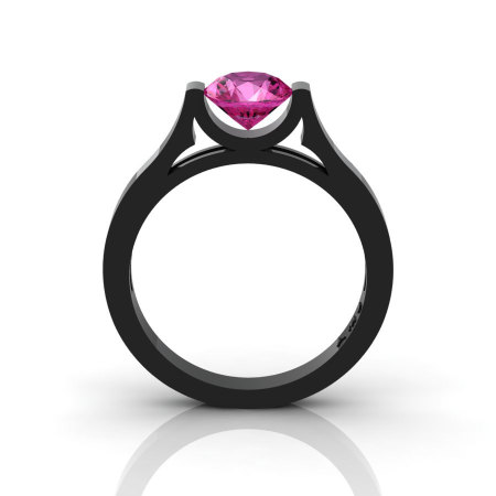 14K Black Gold Elegant and Modern Wedding or Engagement Ring for Women with a Pink Sapphire Center Stone R665-14KBGPS-1