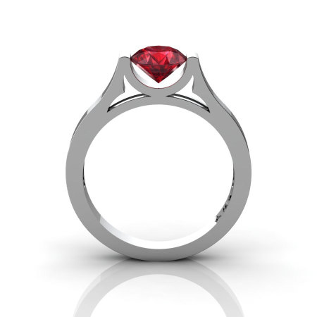 14K White Gold Elegant and Modern Wedding or Engagement Ring for Women with a Ruby Center Stone R665-14KWGR-1