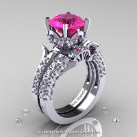 14K White Gold French Vintage 3.0 Ct Pink Sapphire Diamond Solitaire and Wedding Ring Bridal Set R401S-14KWGDPS-1