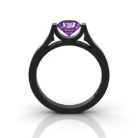 14K Black Gold Elegant and Modern Wedding or Engagement Ring for Women with an Amethyst Center Stone R665-14KBGAM-1