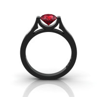 14K Black Gold Elegant and Modern Wedding or Engagement Ring for Women with a Ruby Center Stone R665-14KBGR-1