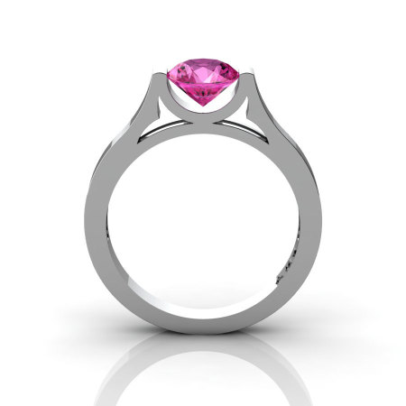 14K White Gold Elegant and Modern Wedding or Engagement Ring for Women with a Pink Sapphire Center Stone R665-14KWGPS-1