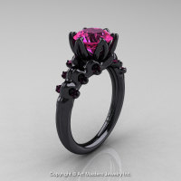 Nature Inspired 14K Black Gold 2.0 Carat Pink Sapphire Organic Design Bridal Solitaire Ring R670s-14KBGPS-1