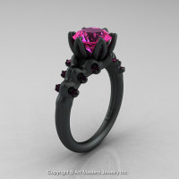 Nature Inspired 14K Matte Black Gold 2.0 Carat Pink Sapphire Organic Design Bridal Solitaire Ring R670s-14KMBGPS-1