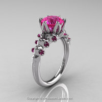 Nature Inspired 14K White Gold 2.0 Carat Pink Sapphire Organic Design Bridal Solitaire Ring R670s-14KWGPS-1