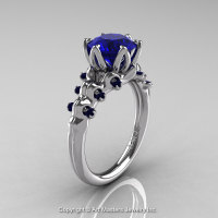 Nature Inspired 14K White Gold 2.0 Carat Blue Sapphire Organic Design Bridal Solitaire Ring R670s-14KWGBS-1