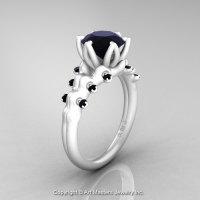 Nature Inspired 14K Ceramic White Gold 2.0 Carat Black Diamond Organic Design Bridal Solitaire Ring R670s-14KCWGBD-1