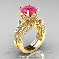 14K Yellow Gold French Vintage 3.0 Ct Pink Sapphire Diamond Solitaire and Wedding Ring Bridal Set R401S-14KYGDPS-1