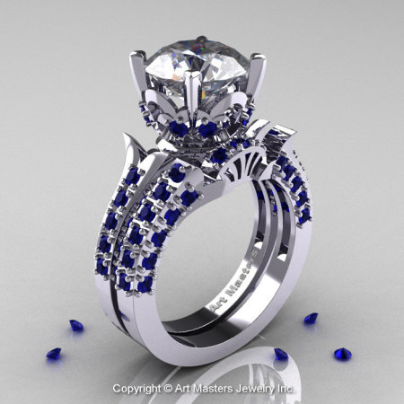 14K White Gold French Vintage 3.0 Ct White and Blue Sapphire Solitaire Ring Wedding Ring Bridal Set R401S-14KWGBSWS-1
